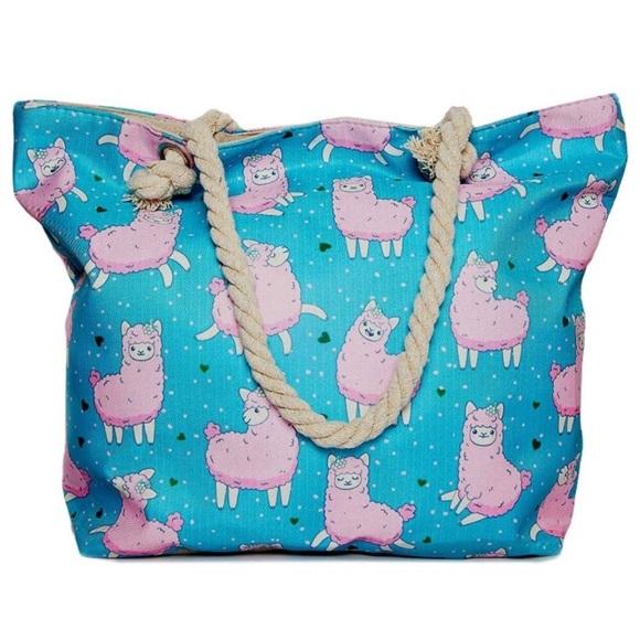 Handbags - Pink Llama Blue Tote Bag